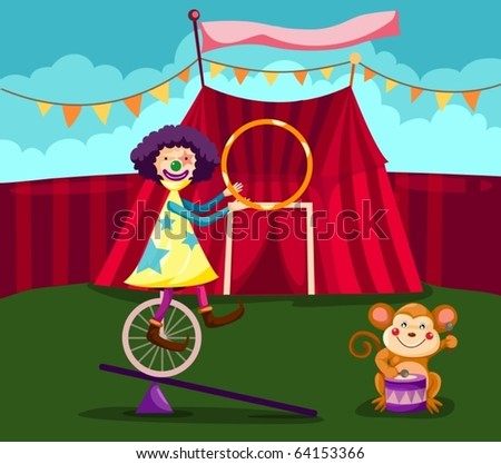 illustration of  funny clown cycling with monkey play drum