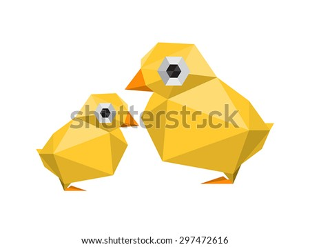 Illustration of funny, modern origami chickens isolated on white background