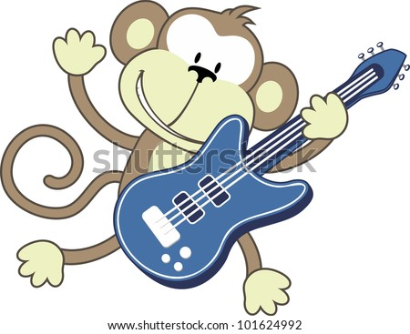 illustration of funny monkey playing electric guitar isolated on white ...