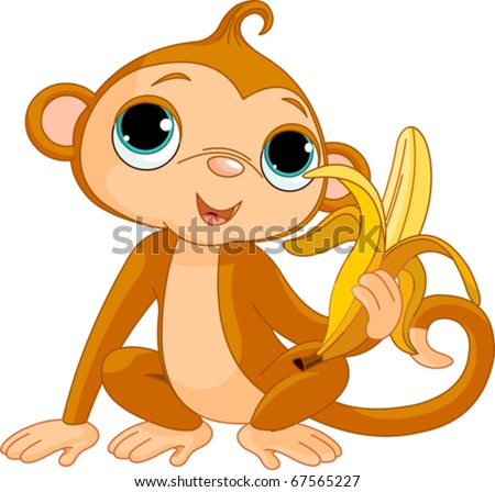 Illustration of funny Monkey with banana - stock vector