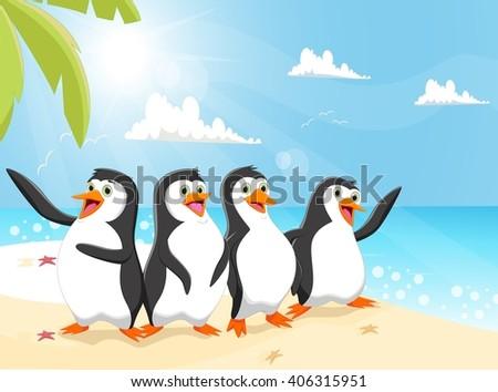 illustration of funny penguin cartoon on the beach