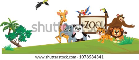 stock-vector-illustration-of-funny-zoo-animal-cartoon-isolated-on-white