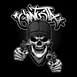 illustration of gangsta skull holding guns