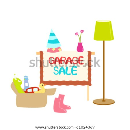 Illustration of garage sale items with sign./Garage Sale