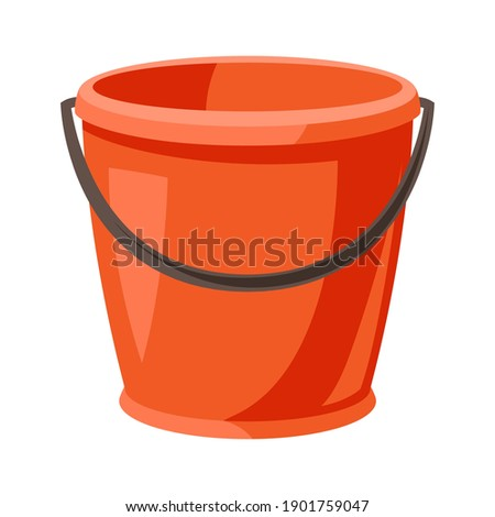 Illustration of garden plastic bucket. Tool for farming and gardening. ストックフォト ©