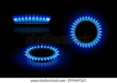 illustration of gas stove in three views on dark background