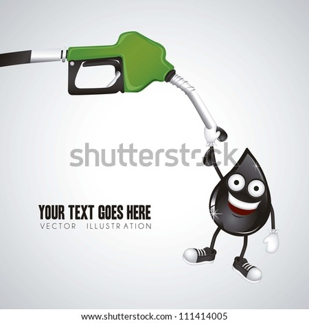 illustration of gasoline dispenser hanging oil drop, vector illustration