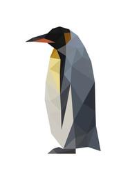 Illustration of geometric polygonal penguin isolated on white background