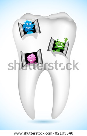 illustration of germs peeping from window in tooth home