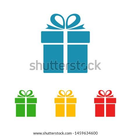 Illustration of gift box icon o background. Christmas gift icon illustration vector symbol. Present gift box icon. Package in gift wrap, vector eps 10 - box icon