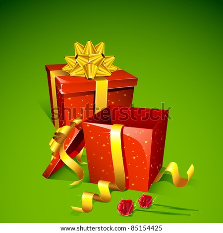 illustration of gift box with rose on abstract background