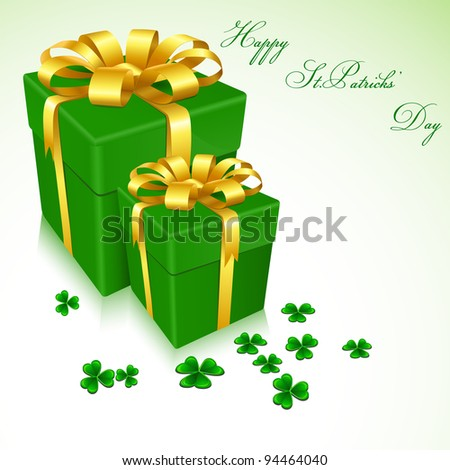 illustration of gift boxes for Saint Patrick's Day with clove leaves