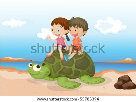 Illustration of Girl and Boy Sitting on Tortoise on colorful background