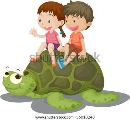 Illustration of Girl and Boy Sitting on Tortoise on white background