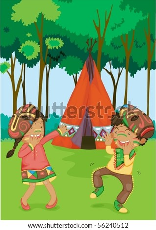 ... of Girl & Boy Dancing Near Tent on colorful background - stock vector