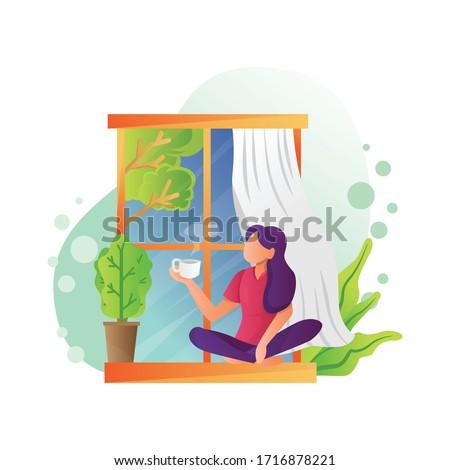 illustration of girl drinking