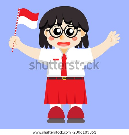 illustration of girl in elementary school uniform holding the Indonesian flag, vector illustration of a simple and cute styled girl with glasses, suitable for Indonesia's 76th independence day, RI HUT Stock fotó ©