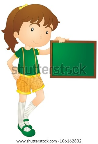 illustration of girl showing board on a white background