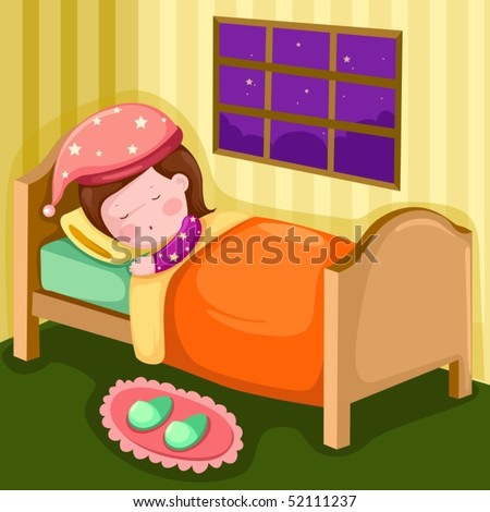 illustration of girl sleeping in her room