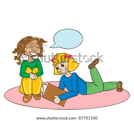 illustration of girls reading a book - stock vector