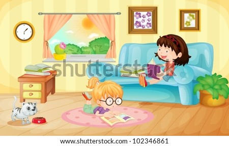 Illustration of girls reading at home