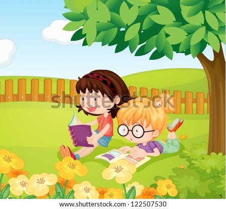 illustration of girls reading