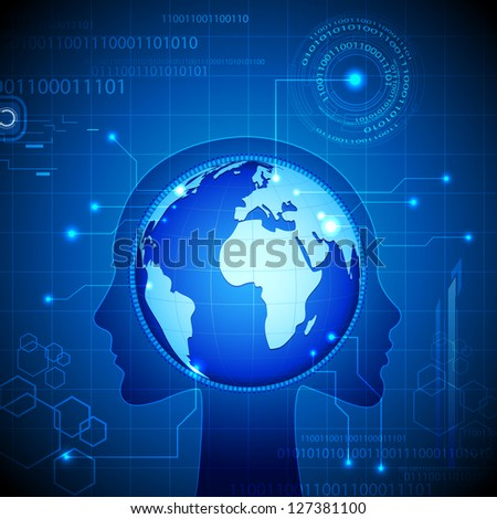 illustration of globe in mind of human on technological background