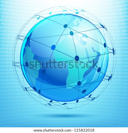 illustration of globe showing networking on binary background