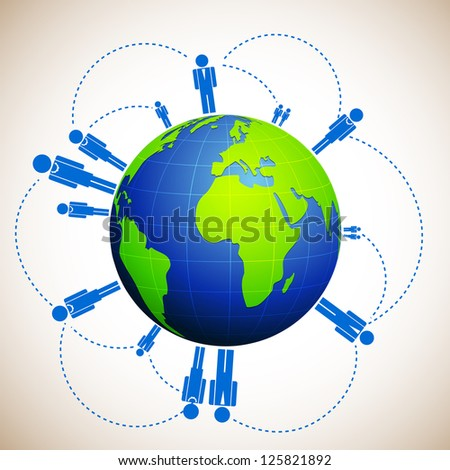 illustration of globe with world wide human network on abstract background