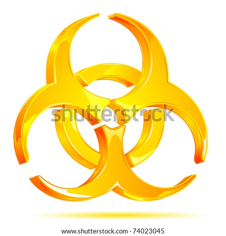 illustration of glossy biohazard symbol on white background - stock vector