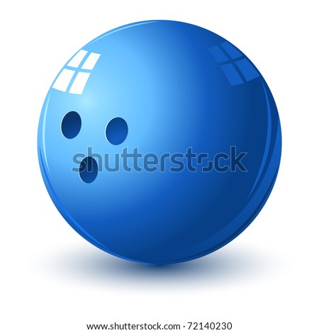 illustration of glossy bowling ball on isolated white background