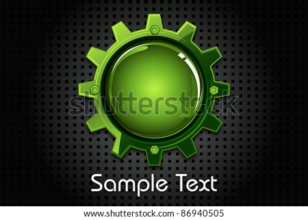 illustration of glossy cogwheel on abstract metal texture background