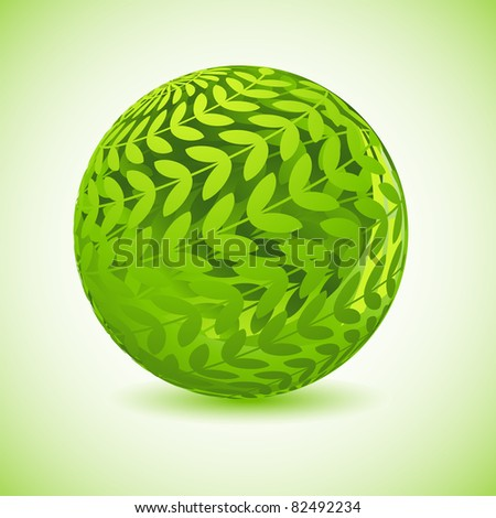 illustration of glossy globe made of green leaf