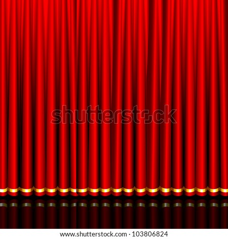 illustration of glossy silk red curtain in stage