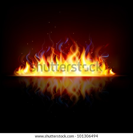 illustration of glowing fire flame with sparks - stock vector
