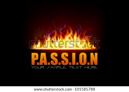 illustration of glowing fire flame with sparks showing passion