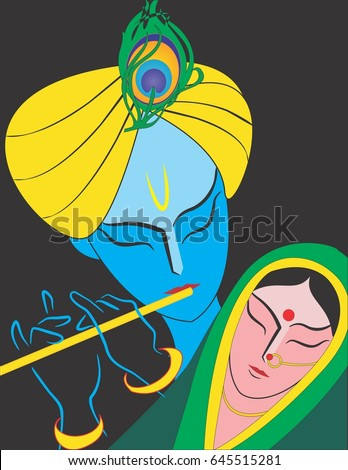 illustration of god radha