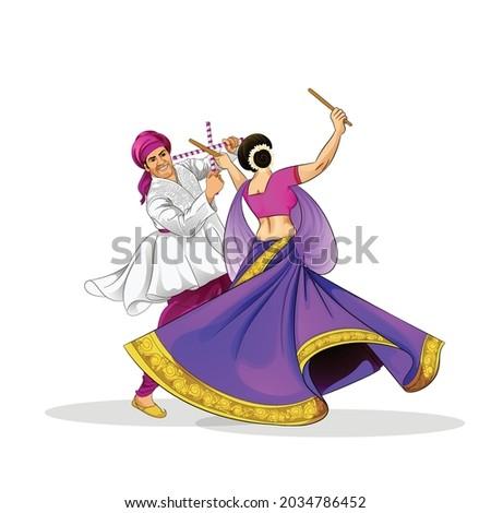 illustration of Goddess Durga Face For Happy Navratri, Couple Playing Garba and Dandiya in Navratri Celebration and Disco Night