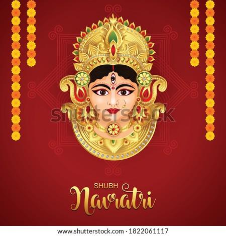 illustration of Goddess Durga Face in Happy Durga Puja Subh Navratri background Stockfoto ©