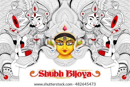illustration of goddess Durga in festival background with bengali text meaning Subh Bijoya (Happy Dussehra)