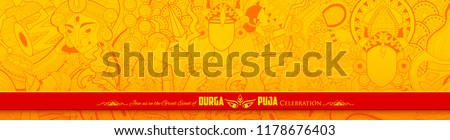 illustration of goddess Durga in Happy Dussehra Navratri background - Shutterstock ID 1178676403