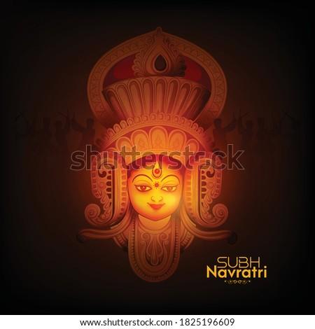 illustration of Goddess Durga in Happy Navratri, Durga Puja, Subh Navratri with  background Stock photo ©