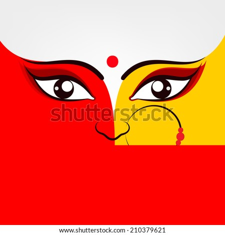 Illustration of Goddess Durga in two bright colours red and golden with big beautiful eyes wearing a nose ring with three red pearls on a simple white background