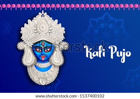illustration of Goddess Kali Maa on Diwali Kali Pooja background of India festival Foto stock ©