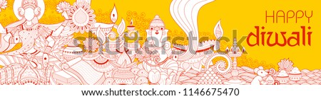 illustration of Goddess Lakshmi and Lord Ganesha on happy Diwali Holiday doodle background for light festival of India