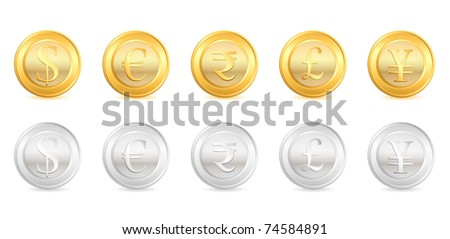 illustration of gold and silver coin of different currency
