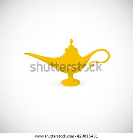 Golden Aladdin's lamp with treasures,… Stock Photo 211506919