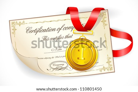 illustration of gold medal on certificate of completion - stock vector