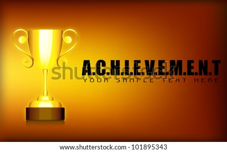illustration of gold trophy cup on motivational achievement background - stock vector
