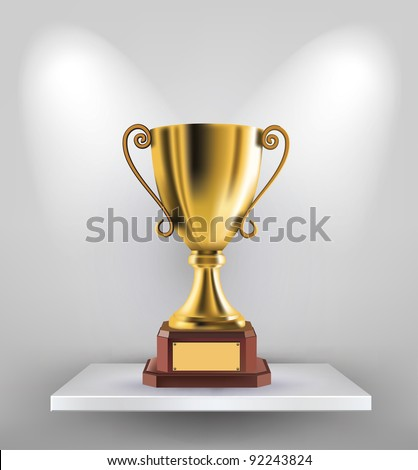 illustration of gold trophy kept on shelf